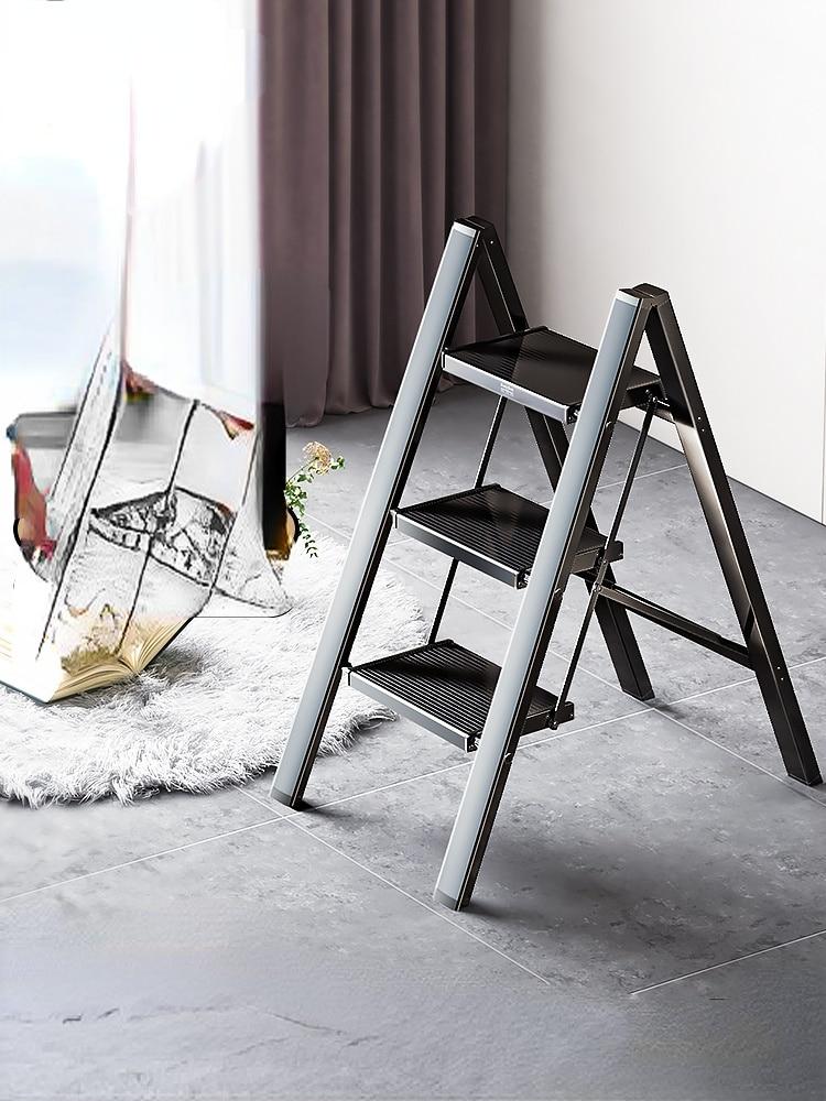 سلم المنزلية للطي درج لمط سميكة سبائك الألومنيوم متعرجة سلم ثلاث خطوات الدرج درجة سلم صغير