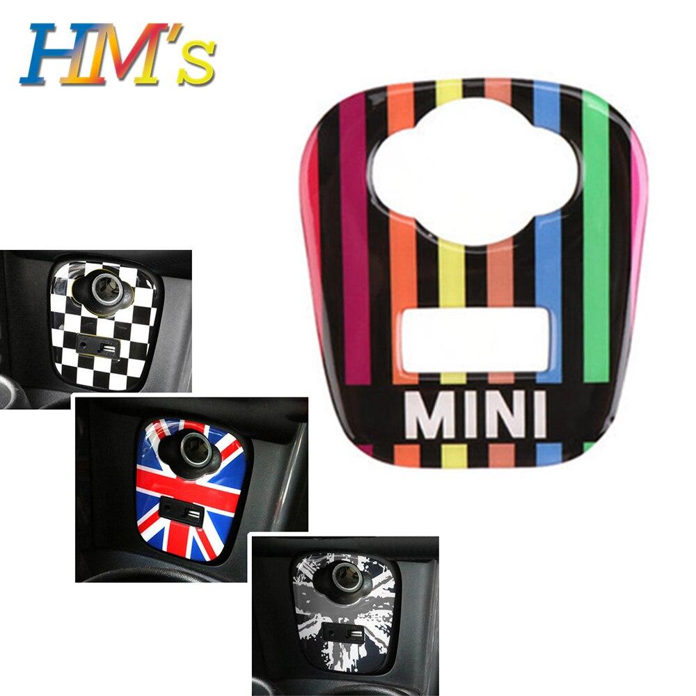 Para mini f56 f55 acessórios do carro interior isqueiro usb adesivo para mini cooper f56 f55 painel de console do carro capa adesivos