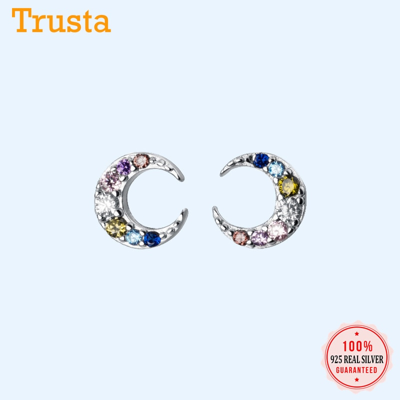 Trusta Authentic 925 Sterling Silver Sweet Color Zircon Tiny Moon Stud Earrings for Women Sterling Silver Jewelry Gift DA741