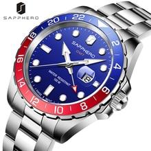 Mens GMT Watch SAPPHERO 100M Waterproof Swiss Quartz Movement Stainless Steel Case Wristwatch Luxury
