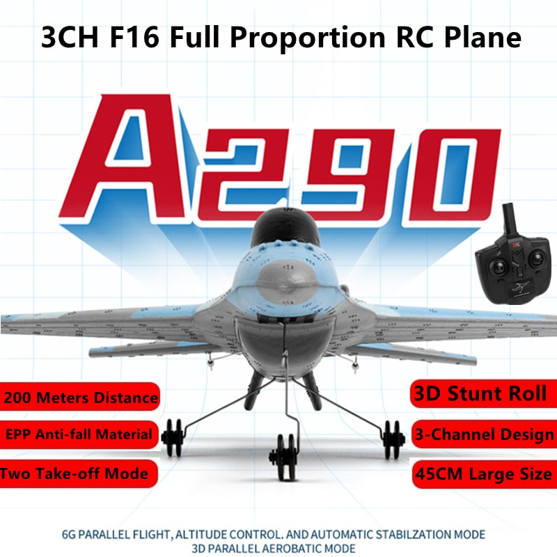 3CH F16 Full Proportion RC Plane 200M 45CM Size 3D/6G Stunt Roll Gyro Self-Stabilization System Two Take-off Modes RC Aieplane