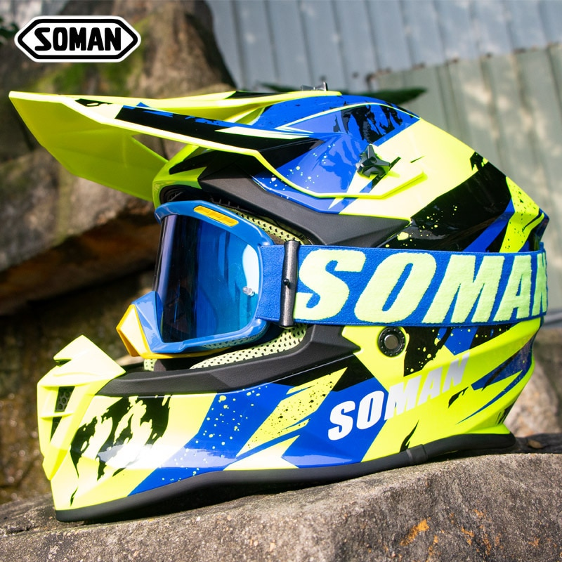 New motorcycle helmet, cross-country full coverage, downhill helmet with sm15 goggles
