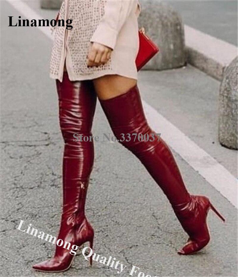 Ocidental Moda Sexy Sapato de Bico Fino Sobre O Joelho Botas De Couro do Salto Stiletto Vinho Tinto Bege Fino Longas Botas De Salto Alto À Noite sapatos