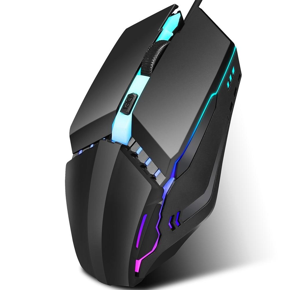 Ratón con cable USB2.0 de 1600DPI, ratón óptico luminoso colorido para juegos, piezas ergonómicas para ordenador 4D