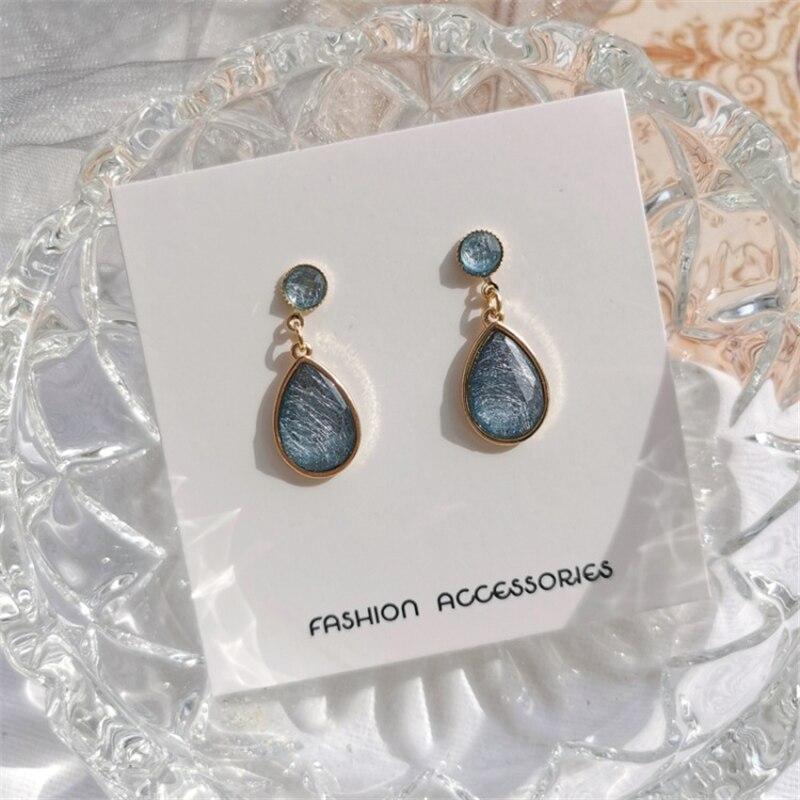 Temperamento de moda como la Marina exquisita moda dibujo chica cristal colgante retro geométrico pendiente ornamentos