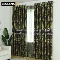 modern nordic tropical printed rainforest plant leaves pattern curtain treatment blackout curtains for living room bedroom