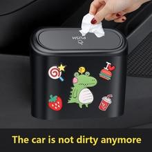 Cartoon Car Trash Bin Hanging Vehicle Garbage Dust Case Storage Box ABS Square Pressing Type Trash C