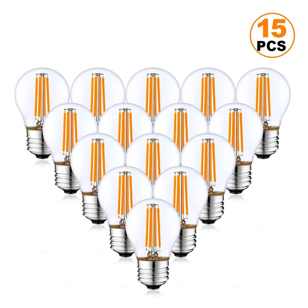15 шт./лот G45 4 Вт Светодиодная шаровидная лампа E27 2700K 6000K винтажная диммируемая Светодиодная лампа накаливания Эдисона для садовых гирлянд, п...