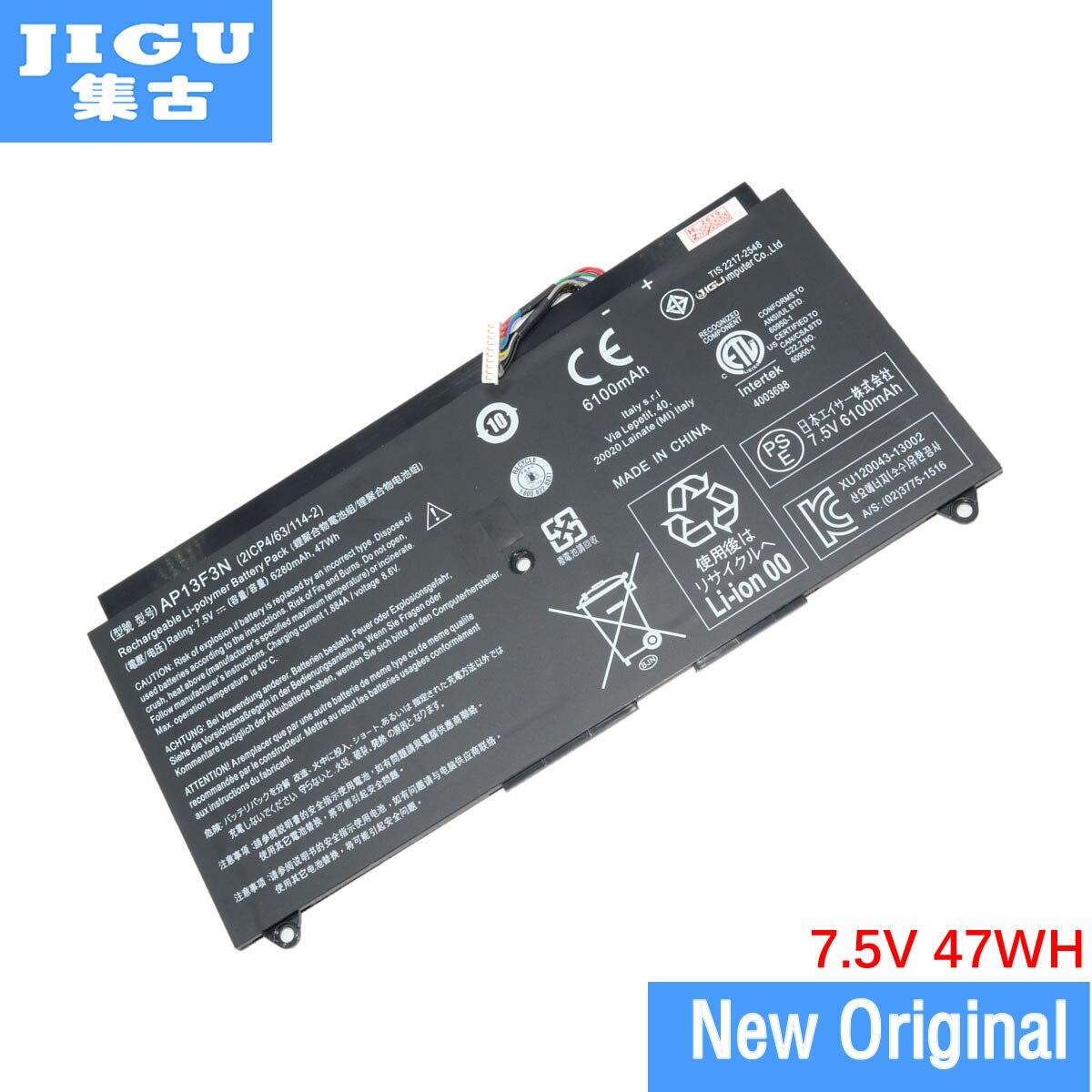 JIGU 7,5 V 47WH Original ordenador portátil batería 2ICP4/63/114-2 AP13F3N para ACER para Aspire S7-392 S7-393