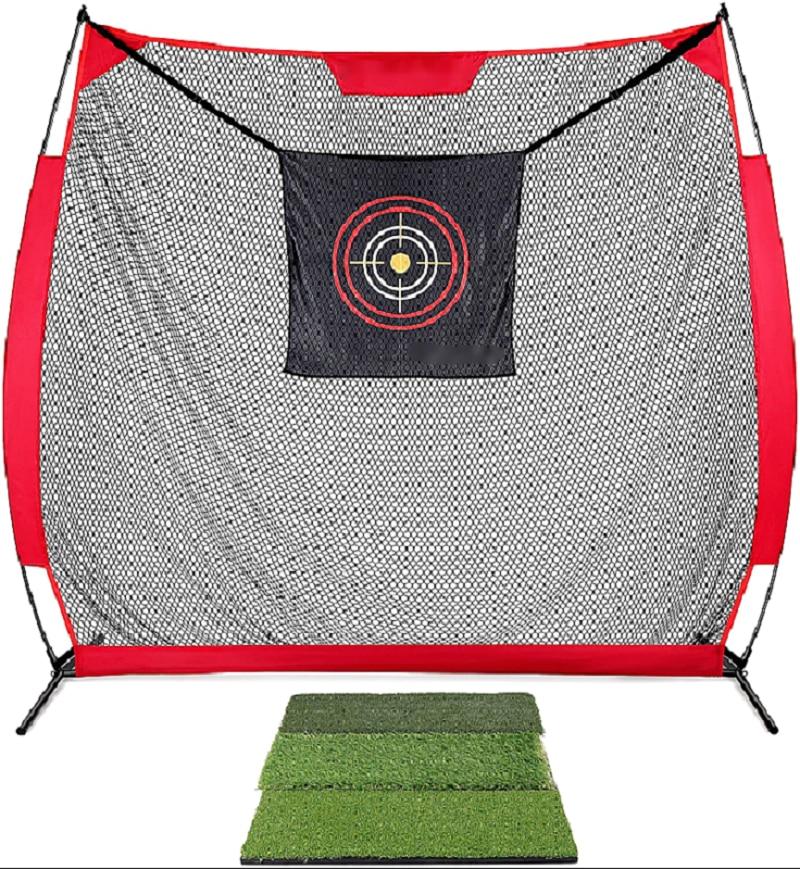 ENHUA RTN 7' x 7' Golf Hitting Net Heavy-Duty Steel Frame and 5 Ply-Knotless Netting Practice Golf Net | Professional Golf Dri