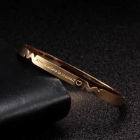 punk gold plated letter stainless steel charm man women bangles trendy soft cuff fashion bangles wedding party jewelry gift
