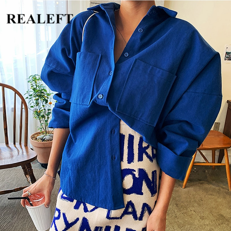 REALEFT 2021 New Spring Double Pockets Turn-down Collar Cotton Women's Blouse Casual Loose Female Blouse Tops Workwear Shirts