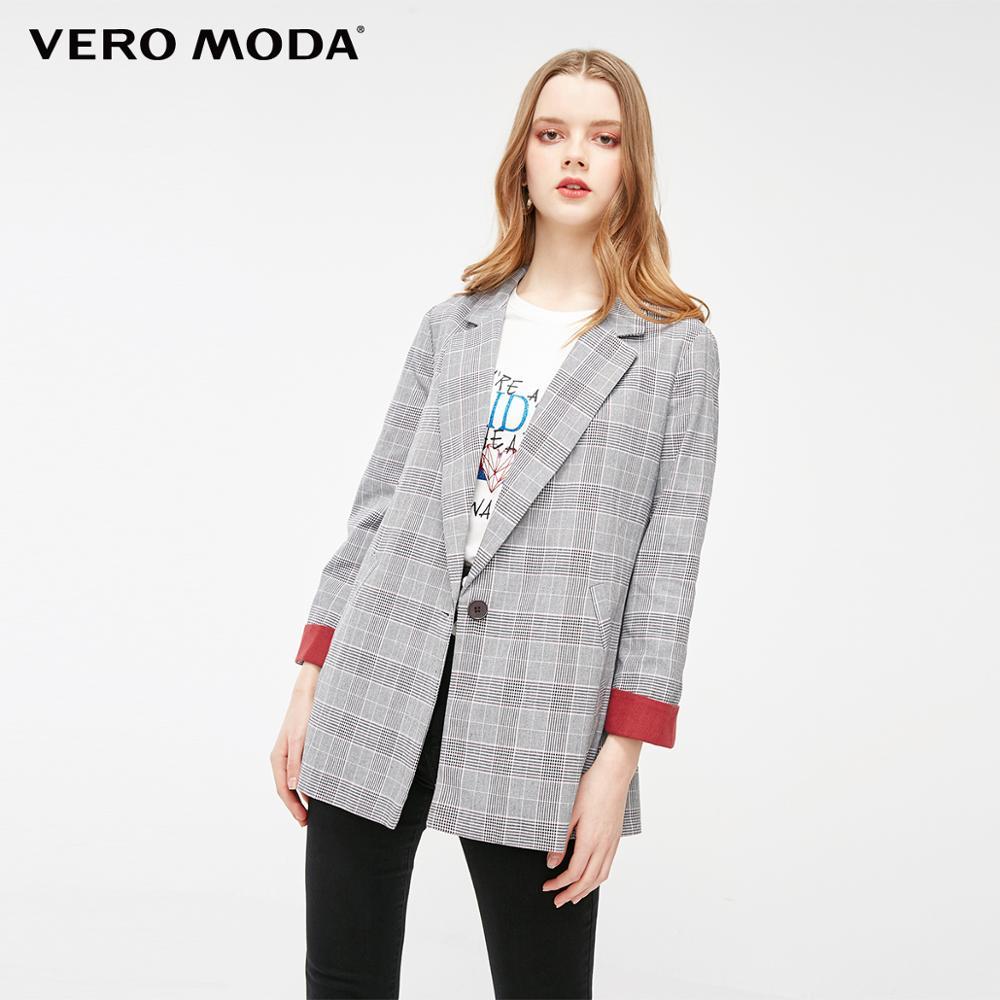 Vero Moda Women's Plaid Lapel One-button Blazer   320108543