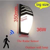 outdoor led waterproof wall lamp radar motion sensor courty garden porch light 36w high brightness ac110v220v