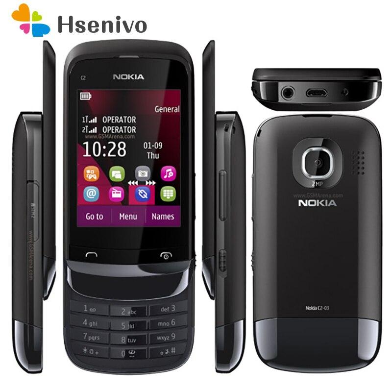 Nokia C2-03 отремонтированы оригинальный C2-03 не блокируется, Две сим-карты, карты 2,6 дюймов 2.0MP Bluetooth FM радио Java телефона Бесплатная доставка