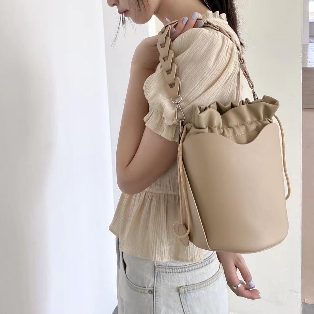 نيجيدو-حقيبة دلو نسائية ، حقيبة كتف ، تصميم بسيط ، بوم بوم ، حزام مضفر ، حقيبة ساعي بحزام كتف
