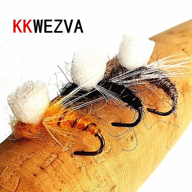KKWEZVA 18 шт., приманка для ловли нахлыстом, сухой Плавающий Тип насекомых, похожий на искусственную приманку для ловли нахлыстом, приманка для ...