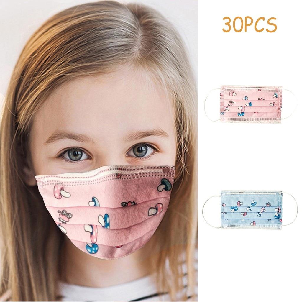 30pc Faceshield Children's Kids For Children Disposable Face Caps 3ply Ear Loop Cotton Reusable Scarf Foulard Femme