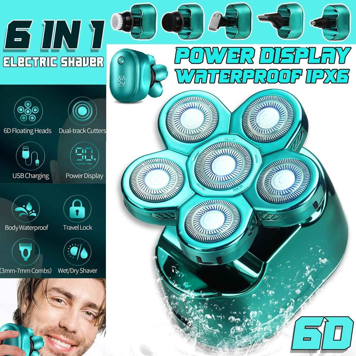 جديد 6in1 متعددة أدوات للعناية الشخصية الرقمية ماكينة حلاقة كهربائية الشعر المتقلب اللحية الحلاقة الكهربائية الرطب الجاف الرجال الوجه والجسم...
