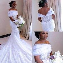 Modeste africain sirène robes de mariée 2020 trouwjurk dentelle robes de mariée noir filles femmes robe de mariée à la main robe de mariée