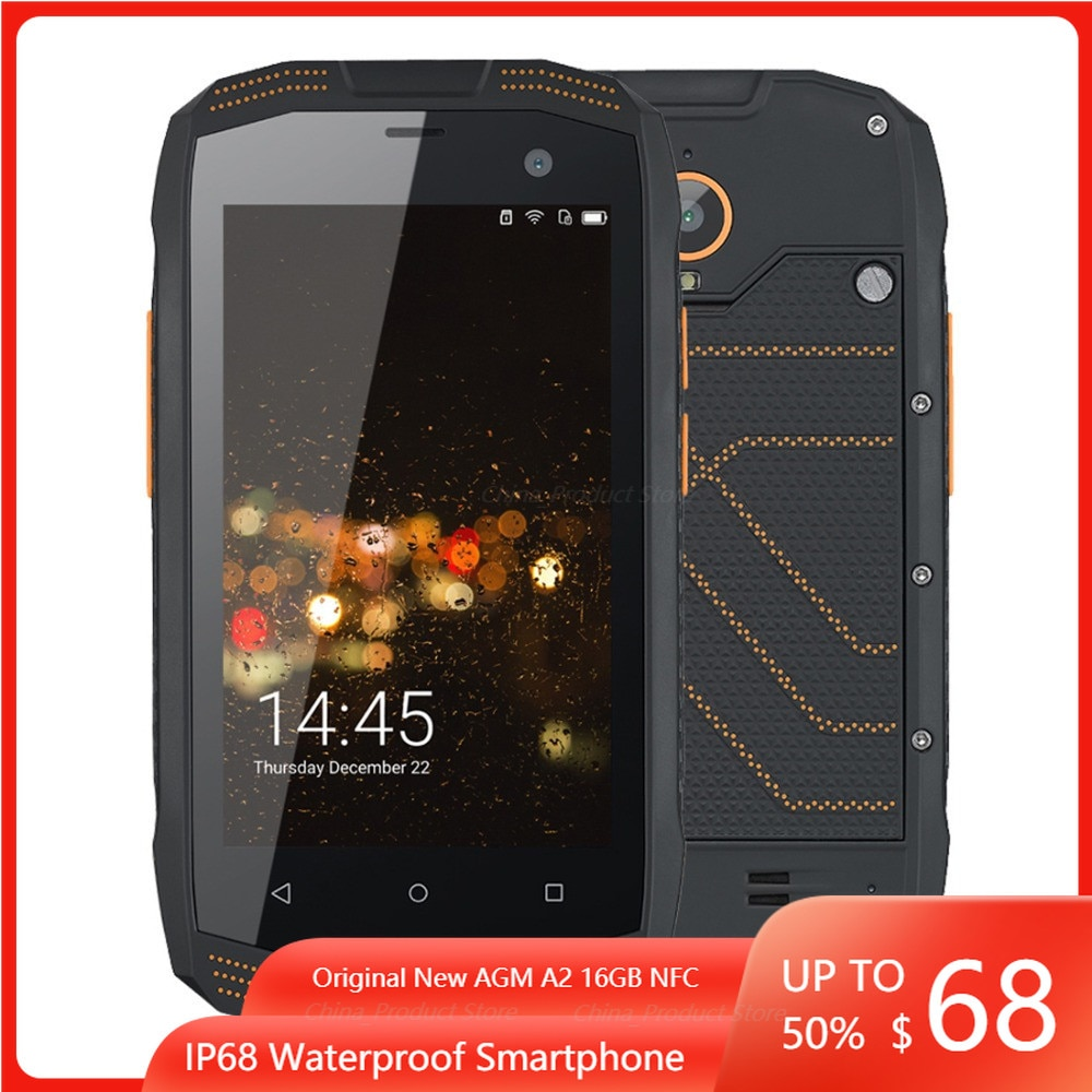 Original AGM A2 IP68 Waterproof Shockproof 4G OTG Smartphone Qualcomm MSM8909 Quad Core Cell phone 2GB 16GB 8MP Mobile Phone