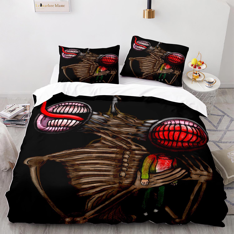 صفارة الإنذار طقم سرير رئيس واحد التوأم كامل الملكة الملك الحجم Siren رئيس طقم سرير للأطفال غرفة نوم Duvetcover مجموعات ثلاثية الأبعاد طباعة 005