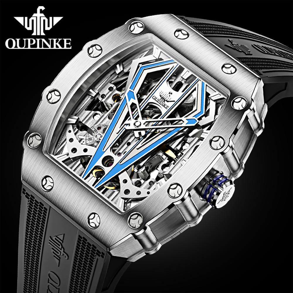 Pulseira de Silicone dos Homens Relógios de Pulso Esportes à Prova Relógio Mecânico Automático Masculino Marca Superior Oupinke Luxo Dwaterproof Água Esqueleto 3179