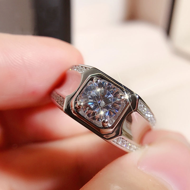 Elegante anillo de oro blanco de 9K para hombre, anillo de compromiso con piedra principal de moissanita, anillo de compromiso, anillo de aniversario de boda