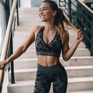 Yoga Set Seamless Camouflage Women Fitness Clothing Sports Wear Gym Leggings Padded Push Up Strappy Sports Bra Sports Suits