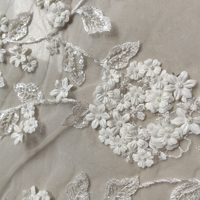 New fashion bridal,3D sequins flowers lace fabric,off white beading wedding dress lace fabric 52'' width 1 yard