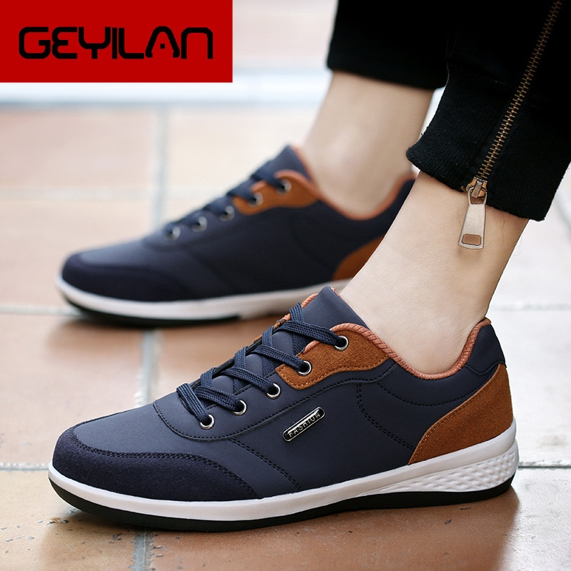 2019 Leather Men Shoes Luxury Brand England Trend Casual Shoes Men Sneakers Italian Breathable Leisu