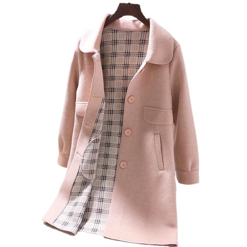 المصنع مباشرة عالية الجودة اوريغامي 2020 الخريف والشتاء المرأة الكورية الجديدة معطف الصوف في معطف طويل من الصوف