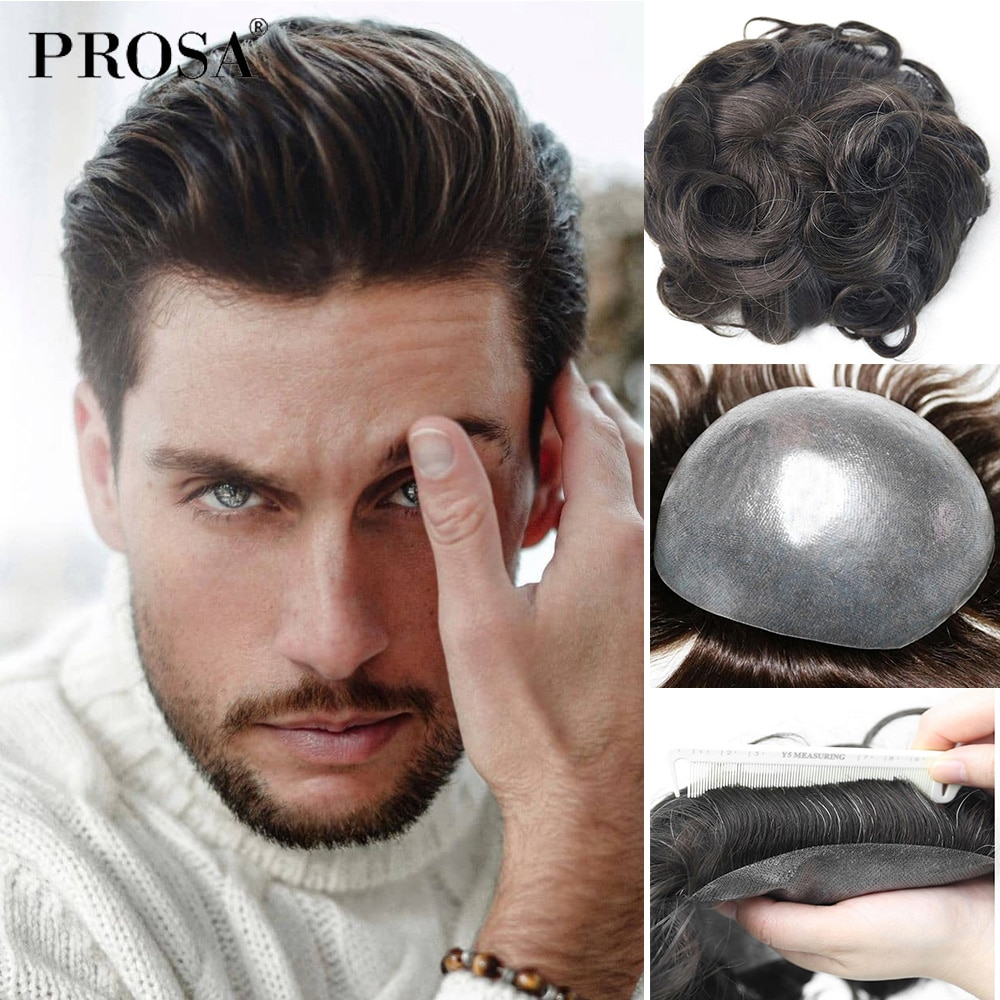 Soft Thin PU V-looped Mens Hair Replacement System Indian 100% Remy Human Hair Natural Men's Fashion Men HairPiece wig
