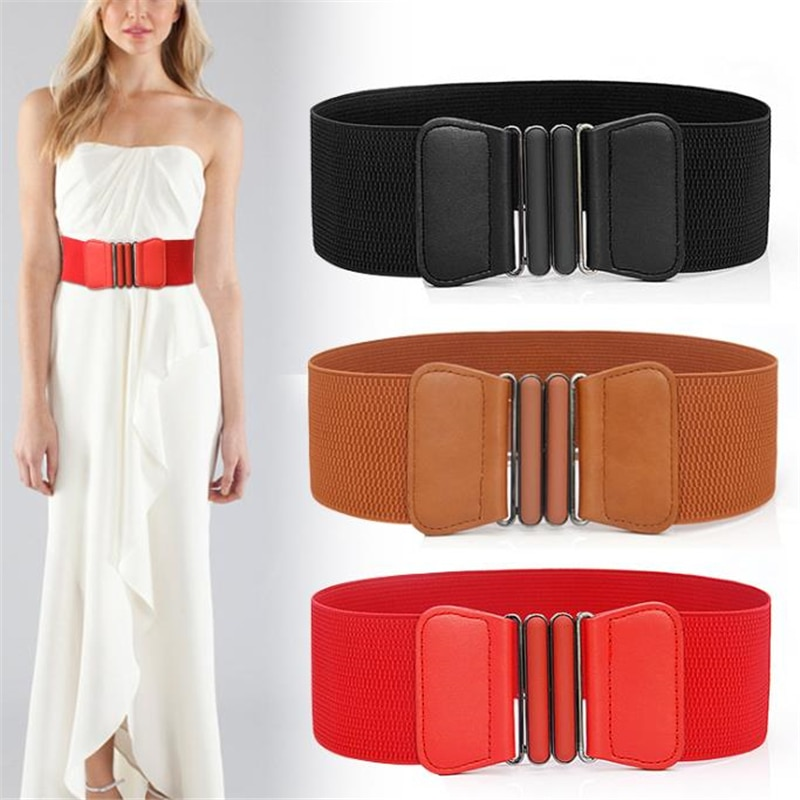 Fashion Brand Waist Belts Women Lady Solid Stretch Elastic Wide Belt New Dress Adornment For Waistband
