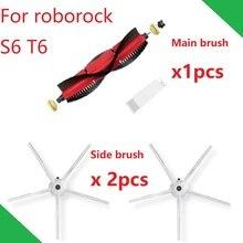 New Original Main Brush Side Brush for Roborock S6 Brush Kits S60 S61 Compatible for S5 MAX S5 S50 S51 White Version
