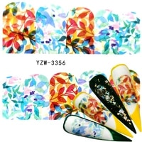 fwc 2021 1 sheet fresh nail stickers colorful leaf flower decal water transfer sticker nail art slider for manicure decoration