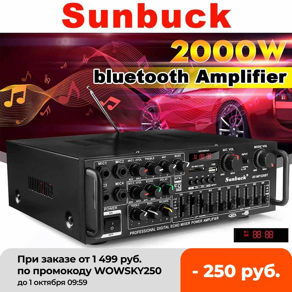 SUNBUCK 2000 واط 4ohm 2CH بلوتوث مكبر صوت استيريو اللاسلكية Hifi ستيريو الصوت المنزل كاريوكي مكبر كهربائي سيارة أمبير قرص USB