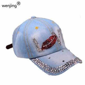2021  wholesale women  love denim Rhinestone baseball cap