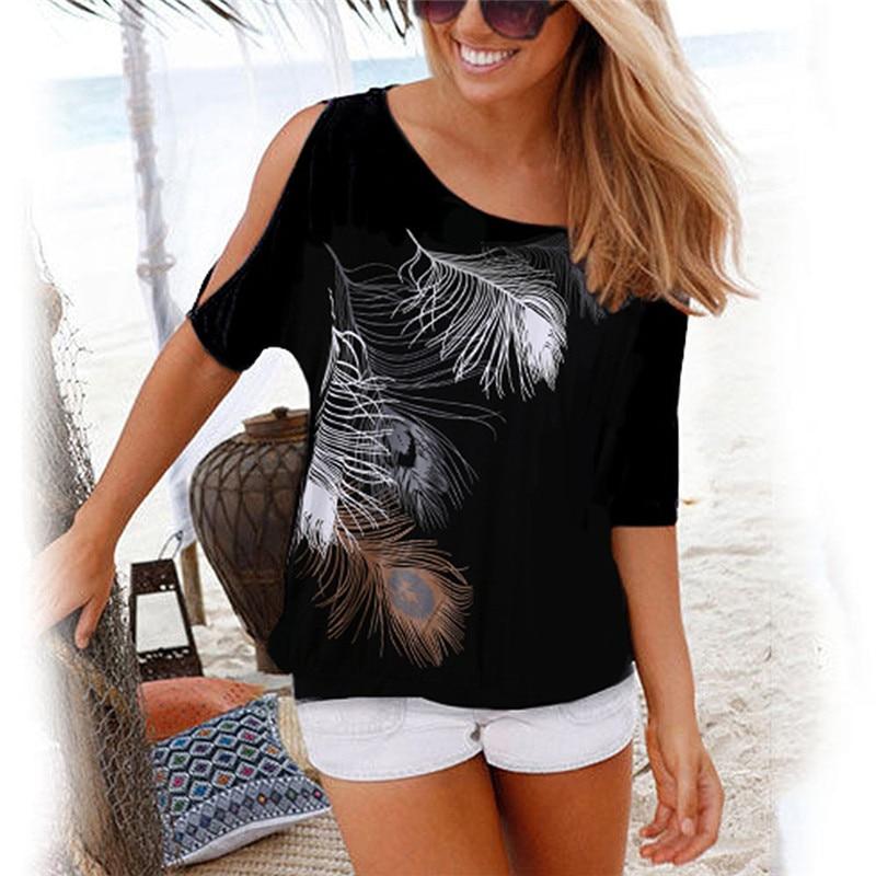 Femmes été 2019 T-Shirt décontracté à manches courtes hauts t-shirts Sexy épaules nues plume impression T-Shirt col rond grande taille 5XL chemises