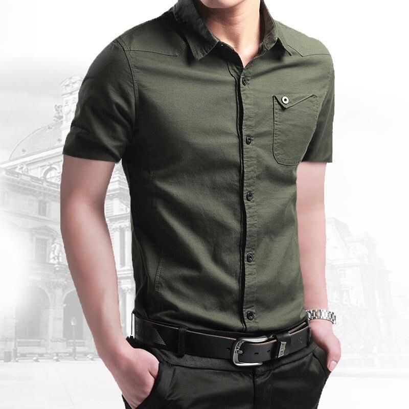 Мужская воздухопроницаемая рубашка, Облегающая рубашка из 2021 хлопка с короткими рукавами в стиле милитари, Новинка лета 100%