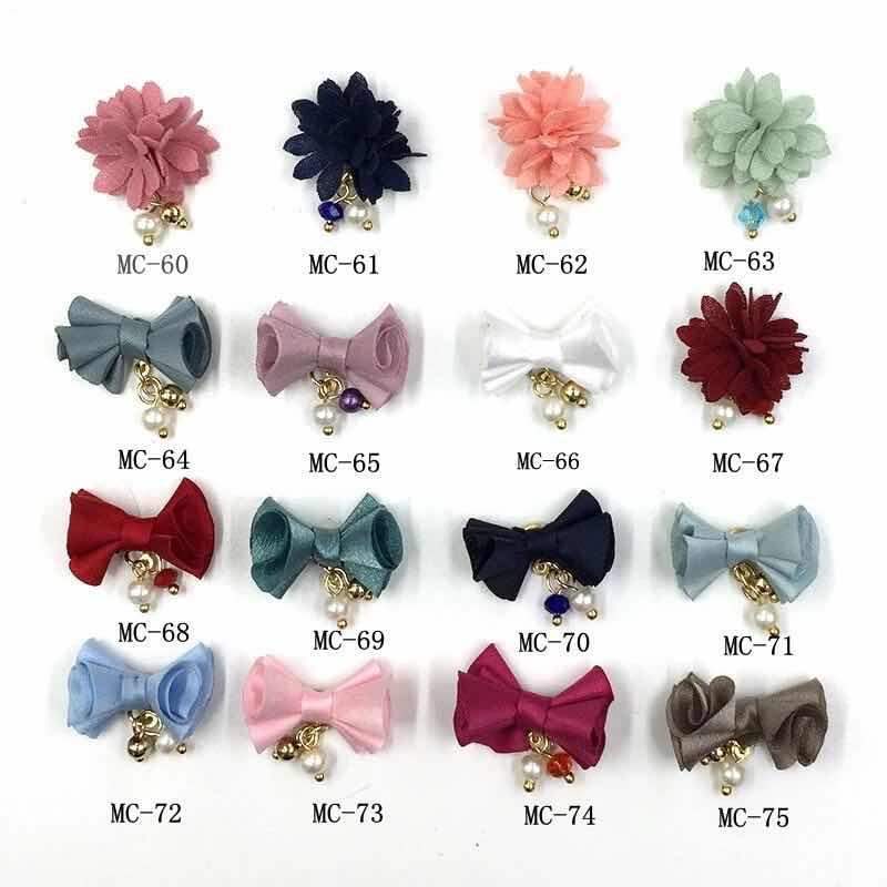 5 pçs pano bowknot/flor 3d decorações da arte do prego destacável pingente magnético ornamentos adesivos para unhas jóias acessórios