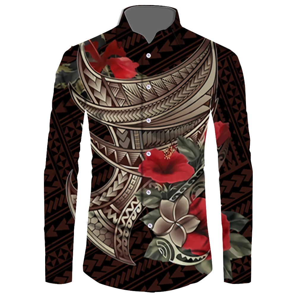 New High Quality Factory Outlet Spring and Autumn Men Long Sleeve Shirts Samoan Custom Print Plus Size Puletasi Classics