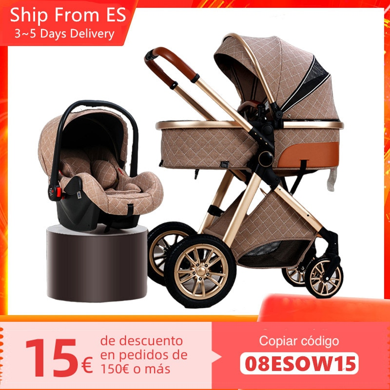 Luxury Baby Stroller 3 in 1 High Landscape Newborn Stroller Infant Trolley Portable Baby Pushchair Cradle Infant Carrier 6 Gifts