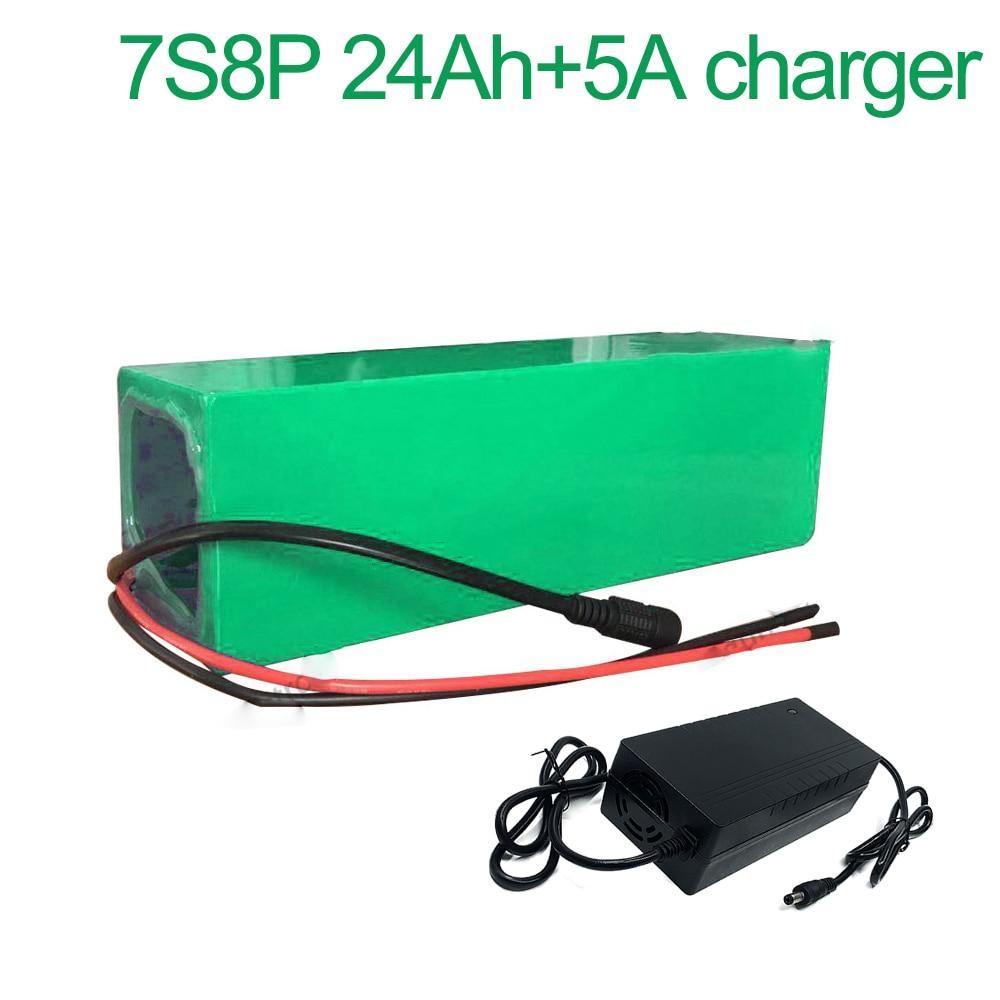 Con cargador 5A 24V 24Ah 25,9 V 7S8P 18650 batería de iones de litio bicicleta eléctrica 215x90x70mm