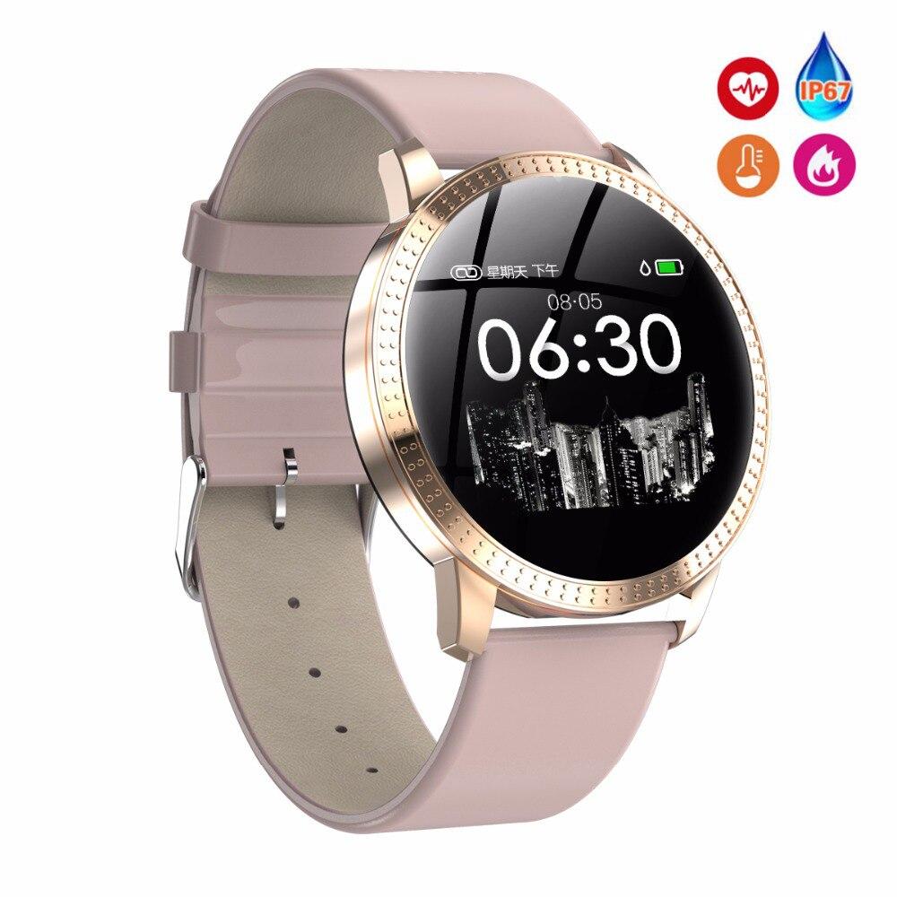 Reloj inteligente deportivo Proker para mujer, Monitor de ritmo cardíaco, podómetro táctil inteligente con Bluetooth CF18