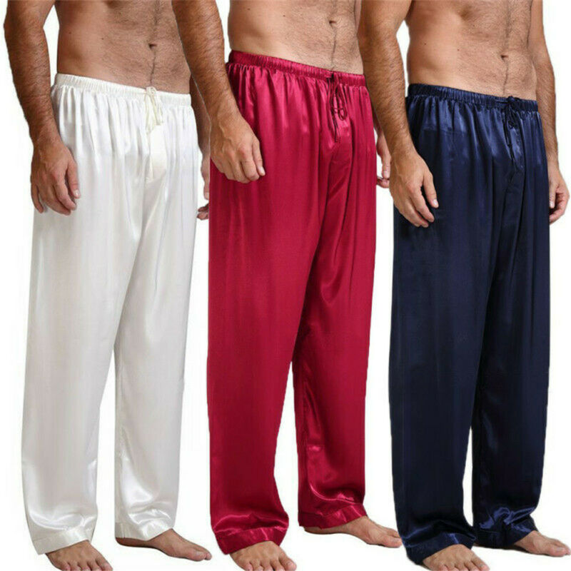 Casual Men Pants Loose Silk Satin Pajamas Nightwear Sleepwear Pyjamas Pants Sleep Bottoms Trousers