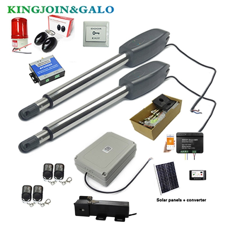 Automatic dual arms electric swing door gate Opener Operator Motor actuator closer swing gate opener + wifi control system automatic swing door gate opener electric double arm opener operator linear actuator with remote control warning light optional