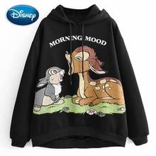 Camiseta negra con estampado con letras y dibujo de conejo ciervo Bambi con estilo de Disney, Sudadera con capucha, sudadera de moda para mujer, Camiseta holgada Harajuku de manga larga