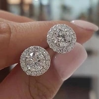simple moissanite white diamond halo brilliant cut stud earrings bride wedding engagement jewelry gifts