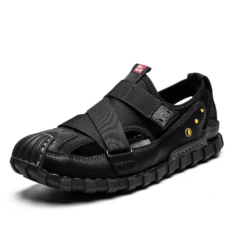 الساخن بيع صندل أحذية الرجال الجلود تنفس ساندليس الرجال الصيف الذكور أحذية Zapatillas هومبر Chaussure أوم حجم 44 تعزيز